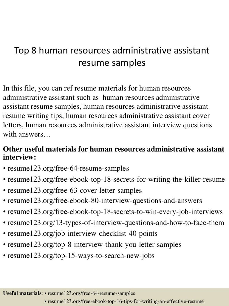 tophumanresourcesadministrativeassistantresumesamples lva app thumbnail jpg cb