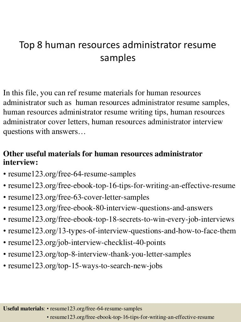human resources benefits administration resume samples
