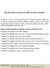 Top 8 human resources staff resume samples