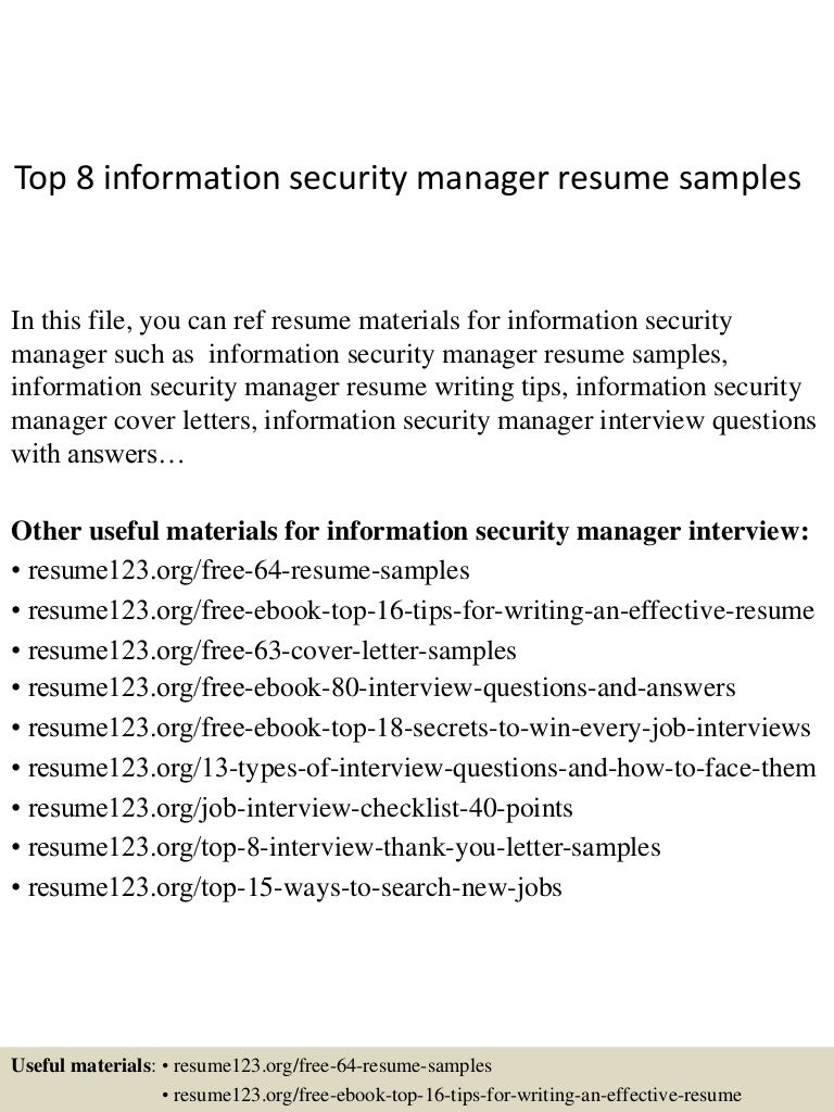 Top8informationsecuritymanagerresumesamples 150410090036 Conversion Gate01 Thumbnail 4 Jpg Cb 1428674479
