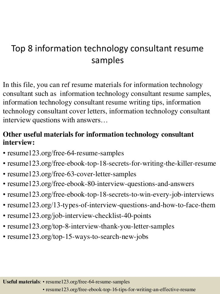 information technology consultant resume
