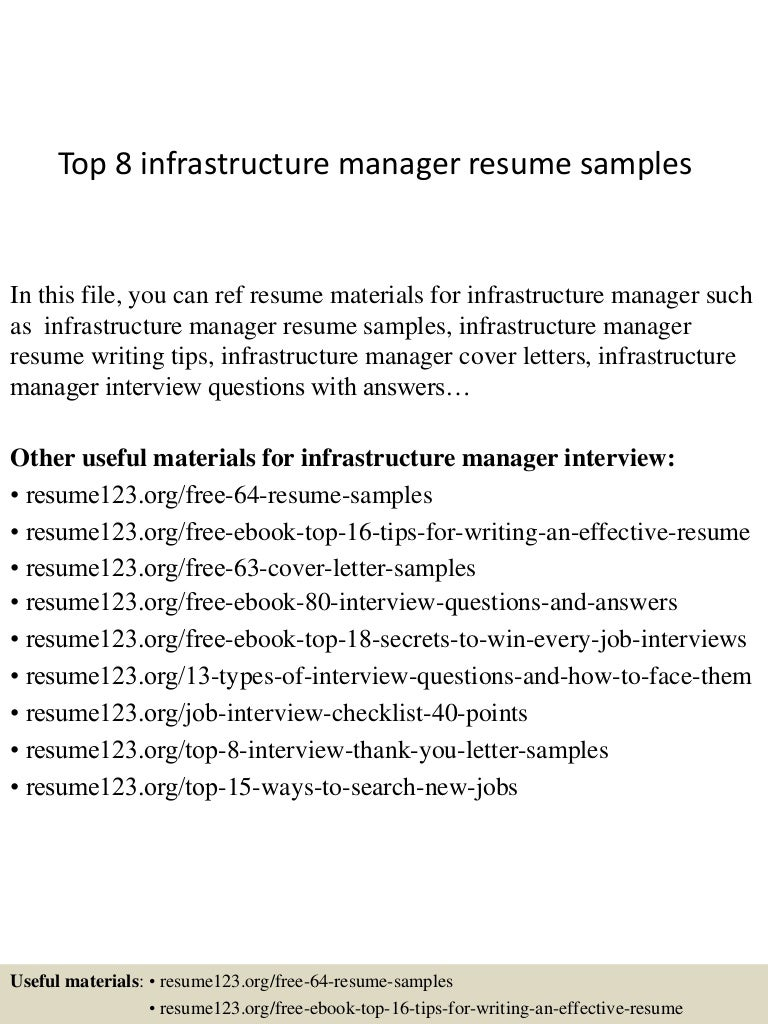 top8infrastructuremanagerresumesamples 150408062704 conversion gate01 thumbnail 4 jpg cb 1428492466