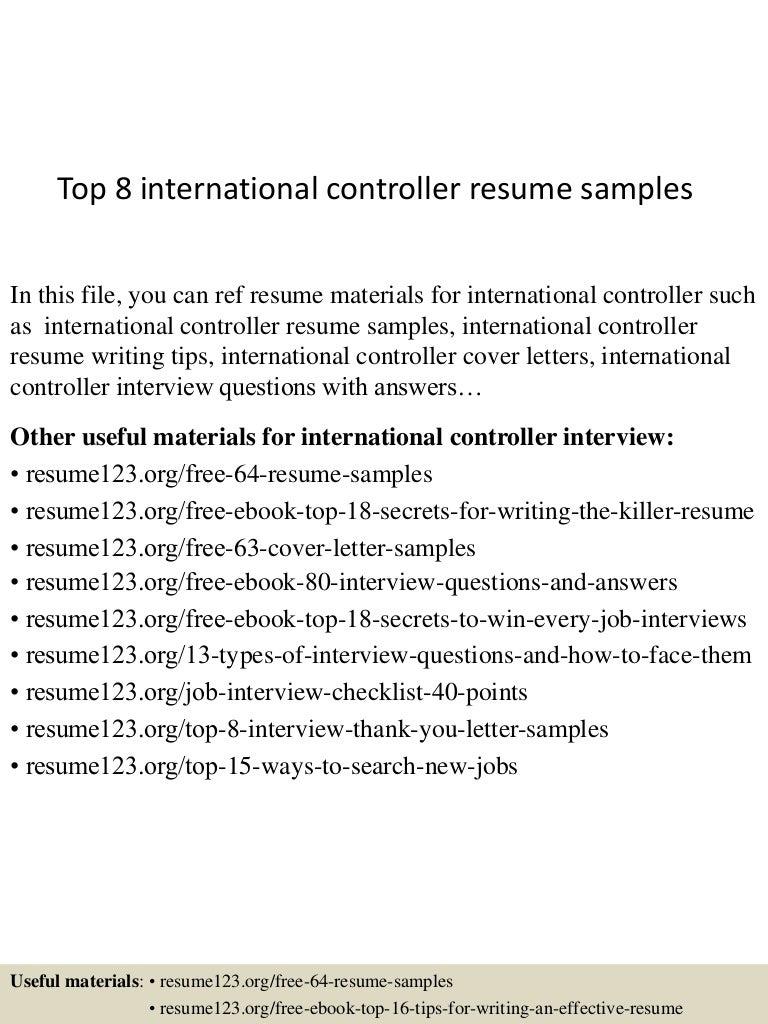 international controller resume