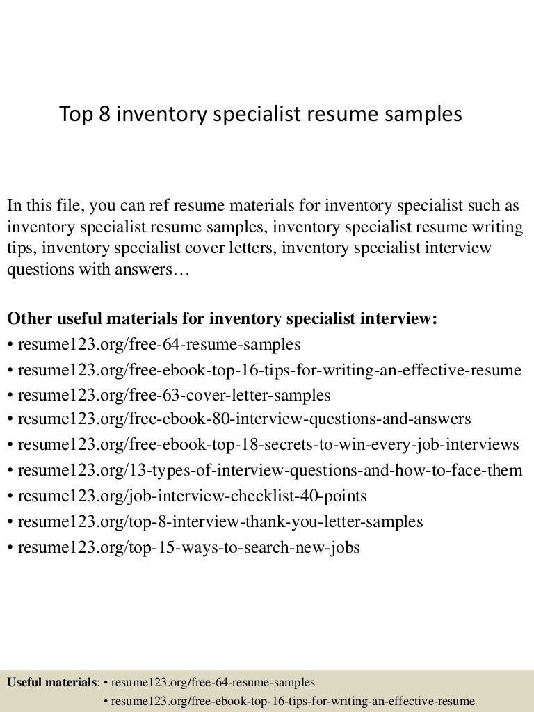inventory specialist jobs resumes
