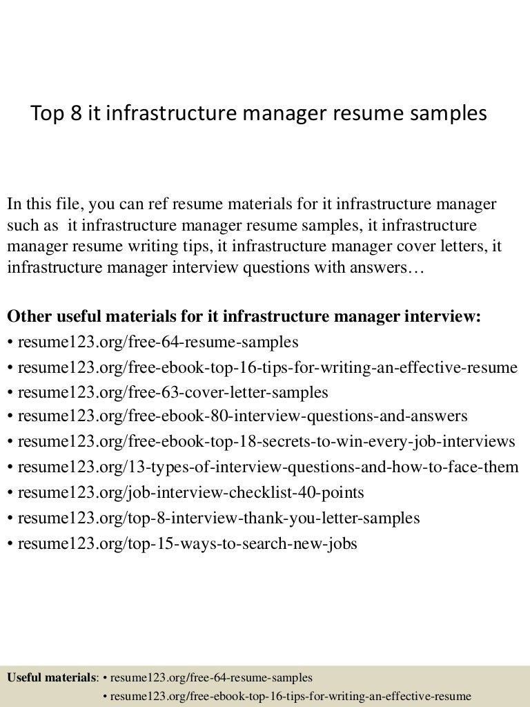 Top8itinfrastructuremanagerresumesamples 150410091103 Conversion Gate01 Thumbnail 4cb1428675107