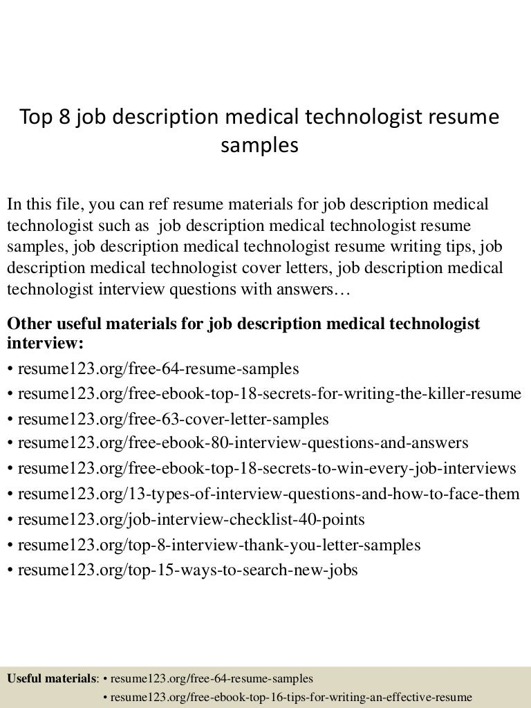 top8jobdescriptionmedicaltechnologistresumesamples150730023734lva1app6892thumbnail4jpgcb 1438223901 – Shipping and Receiving Job Description