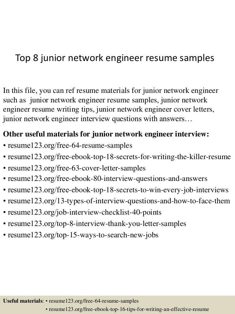 Top 8 junior network engineer resume samples