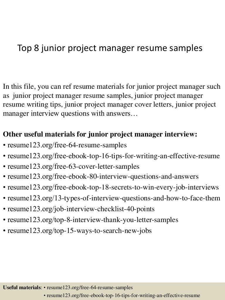 top8juniorprojectmanagerresumesamples 150402080716 conversion gate01 thumbnail 4jpgcb1427980083 junior project manager resume - Sample Project Manager Resumes