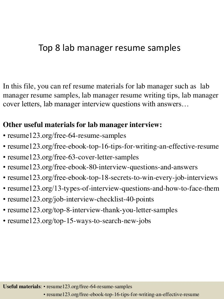 Charming SlideShare Intended For Lab Manager Resume