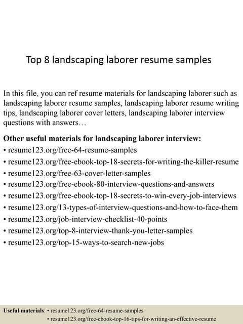 Top 8 Landscaping Laborer Resume Samples
