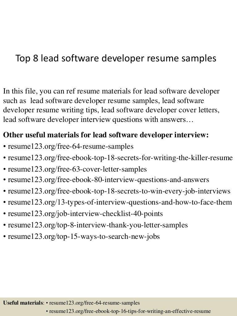 Top 8 Lead Software Developer Resume Samples