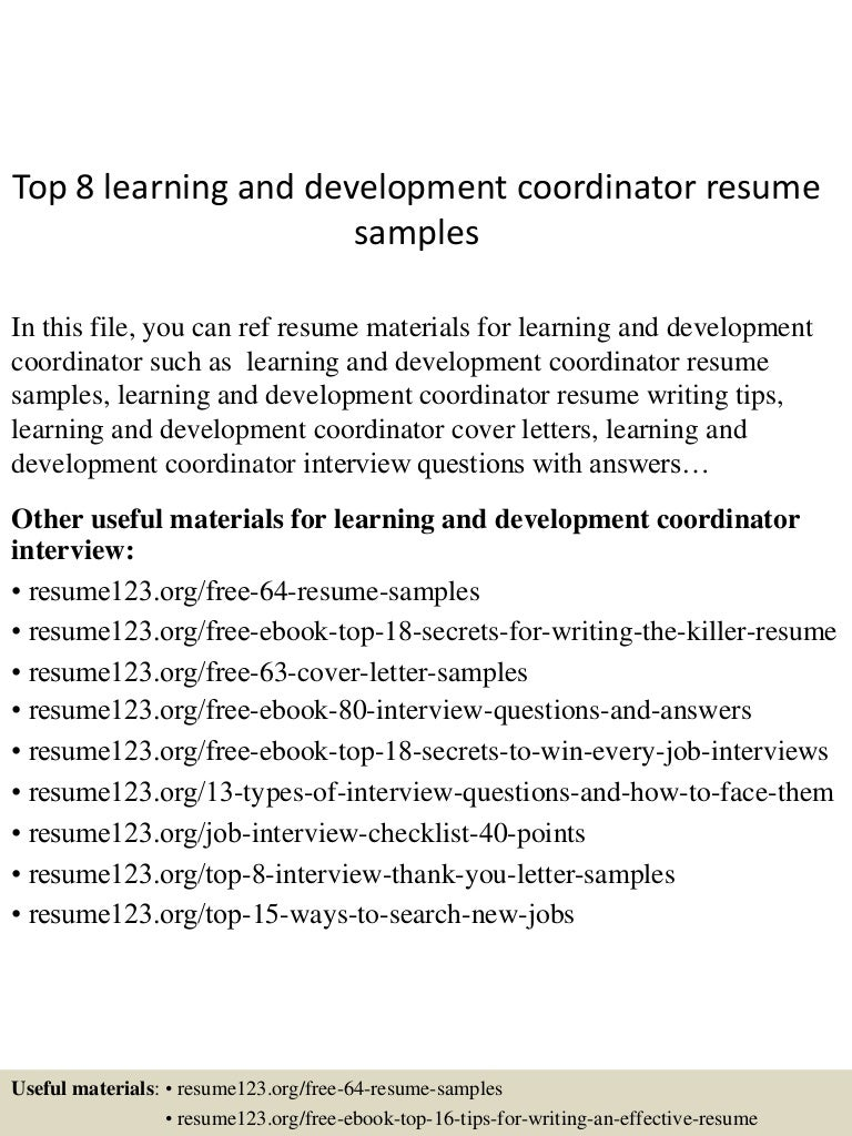 Toplearninganddevelopmentcoordinatorresumesampleslvaappthumbnailjpgcb - Training and development resume sample