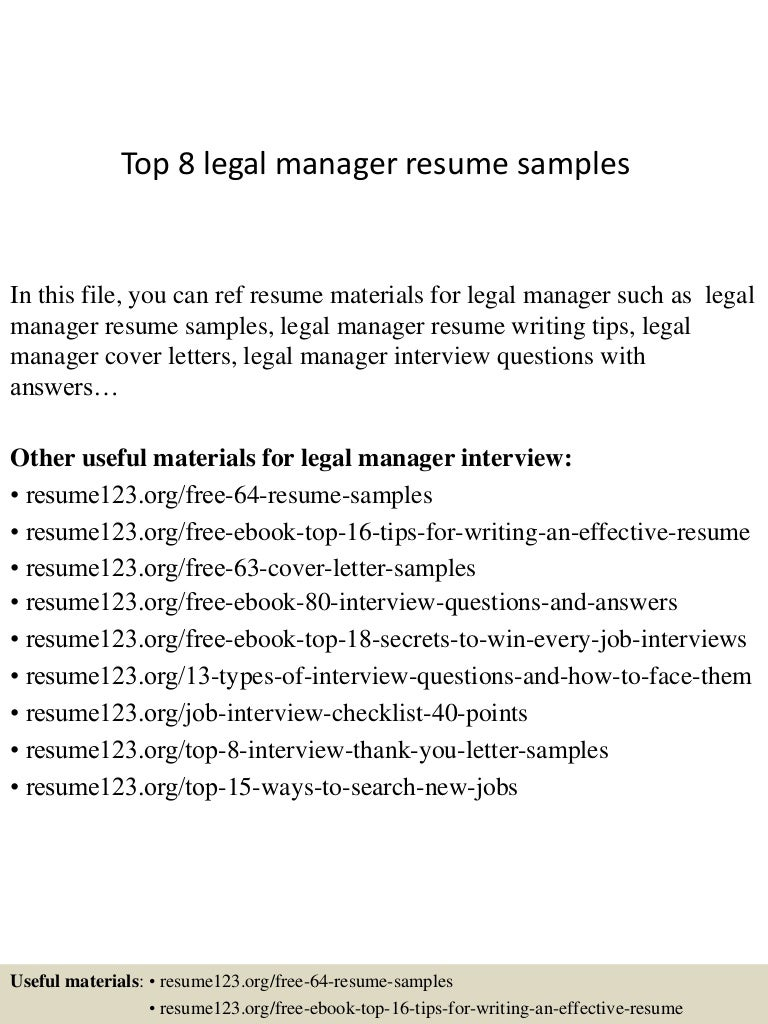 Top 8 legal manager resume samples