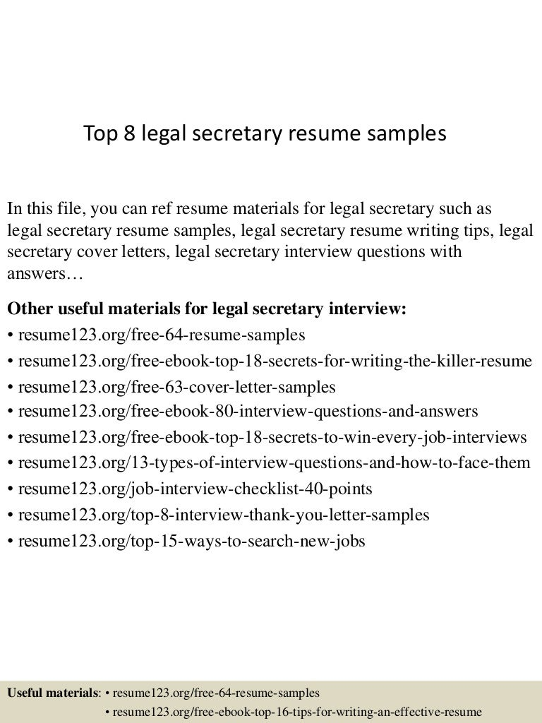 top8legalsecretaryresumesamples 150425024523 conversion gate01 thumbnail 4 jpg cb 1429947973