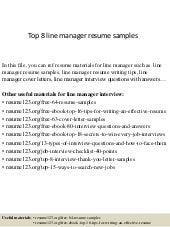 top 8 line manager resume samples - Zonal Manager Resume Sample