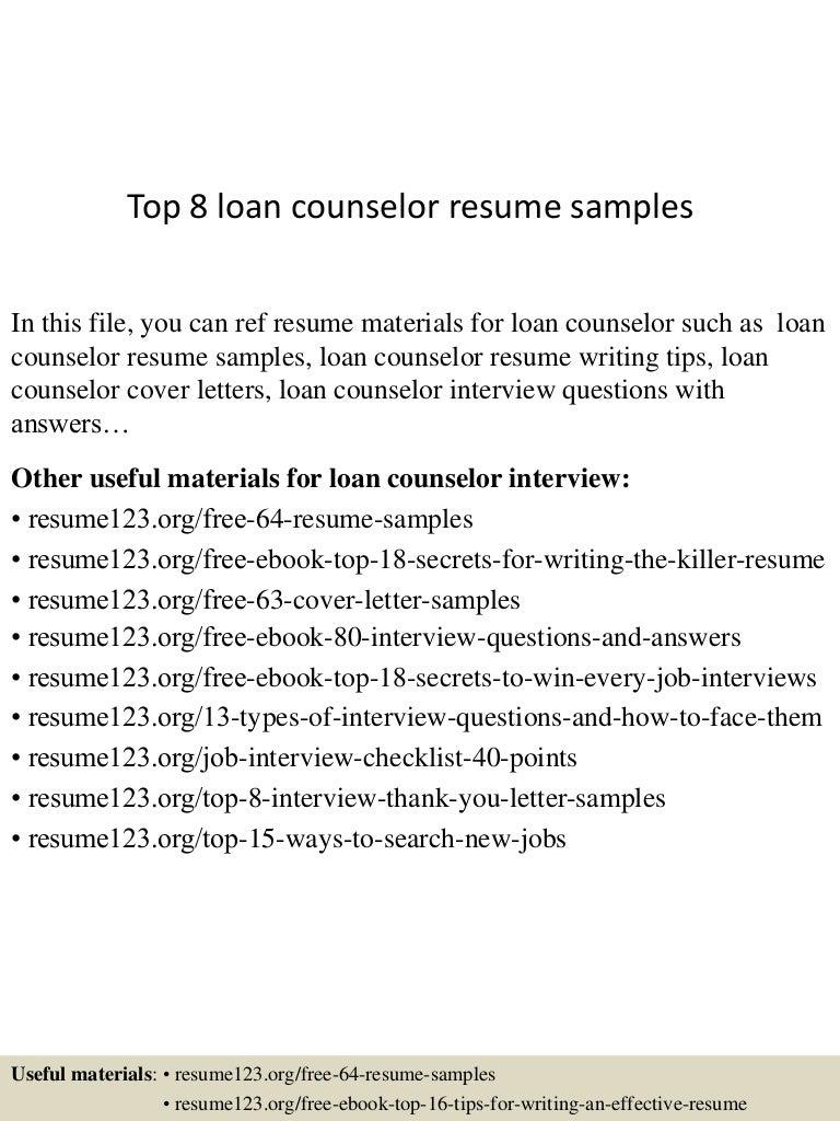 Top 8 loan counselor resume samples