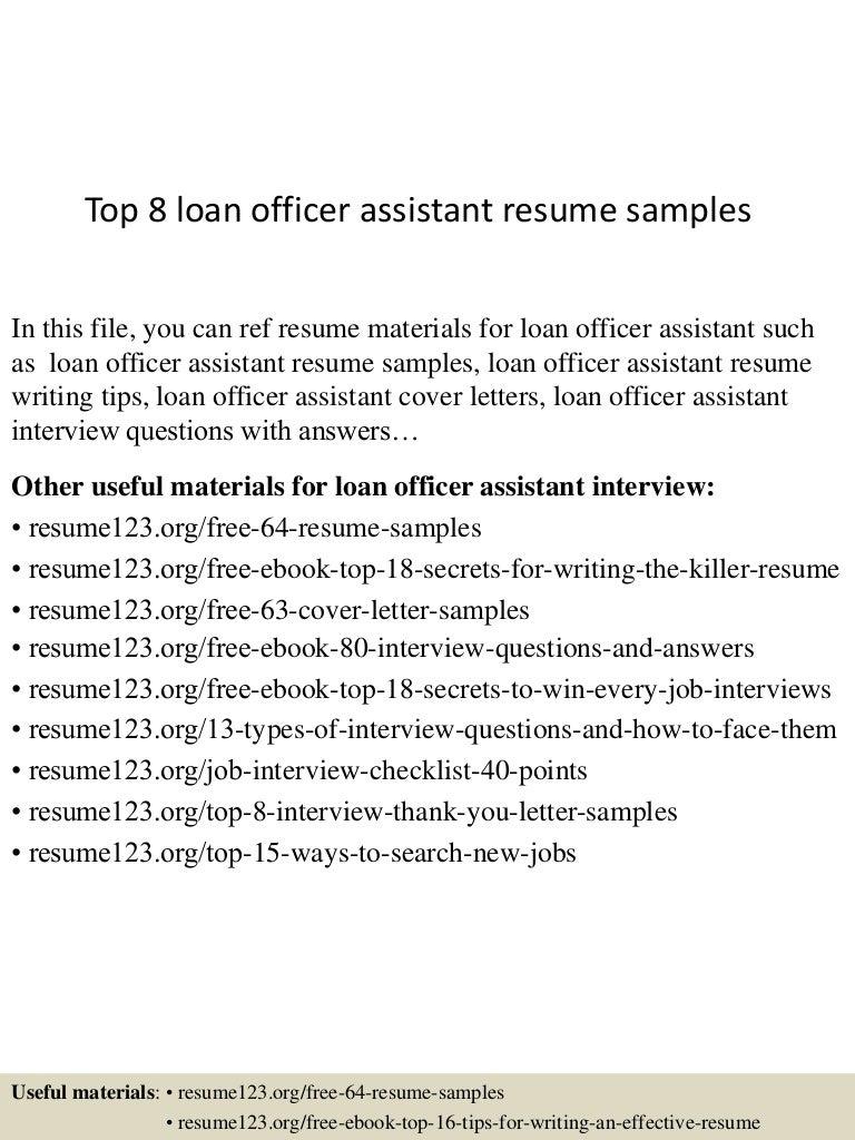 Top 8 loan officer assistant resume samples