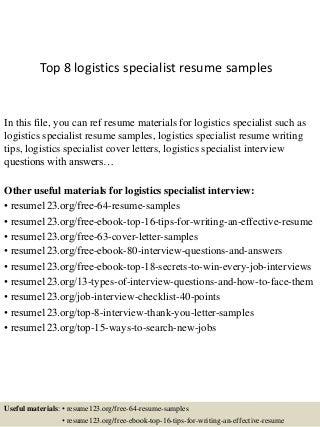 Logistics Specialist  Linkedin
