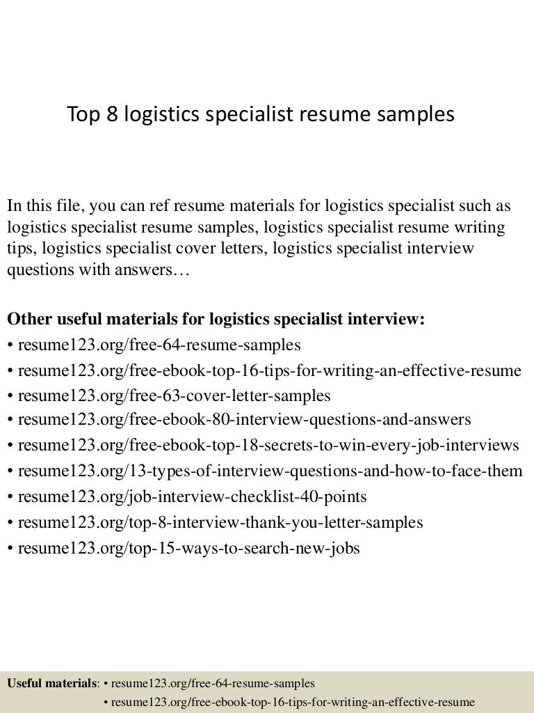 top8logisticsspecialistresumesamples 150331214843 conversion gate01 thumbnail 4