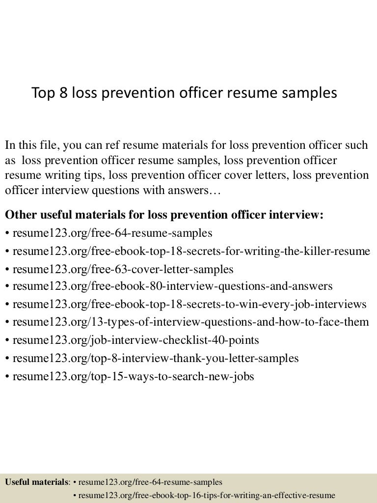 8 Loss Prevention Officer Resume Samples