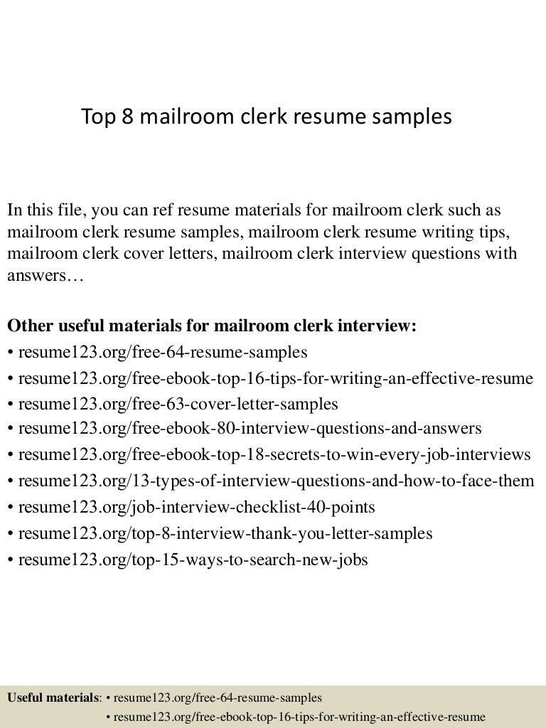 resume Mailroom Clerk Resume Sample top8mailroomclerkresumesamples 150404034029 conversion gate01 thumbnail 4 jpgcb1428136871