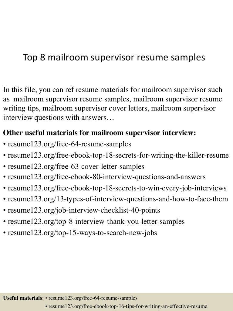 Top 8 mailroom supervisor resume samples