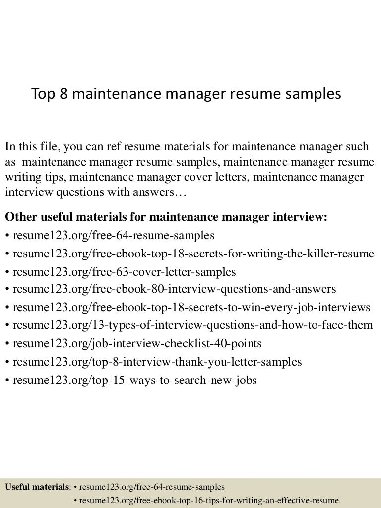 top8maintenancemanagerresumesamples 150425024805 conversion gate02 thumbnail 4jpgcb1429948144 - Sample Maintenance Resume