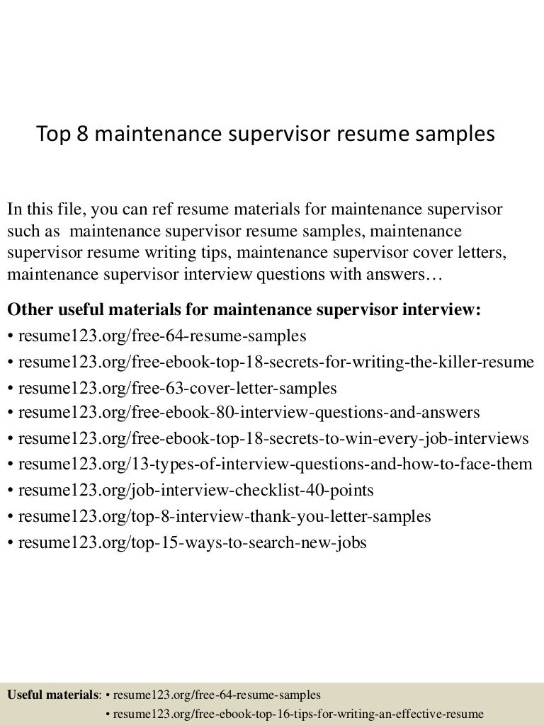 Delightful SlideShare For Maintenance Supervisor Resume Sample