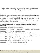 top 8 manufacturing engineering manager resume samples