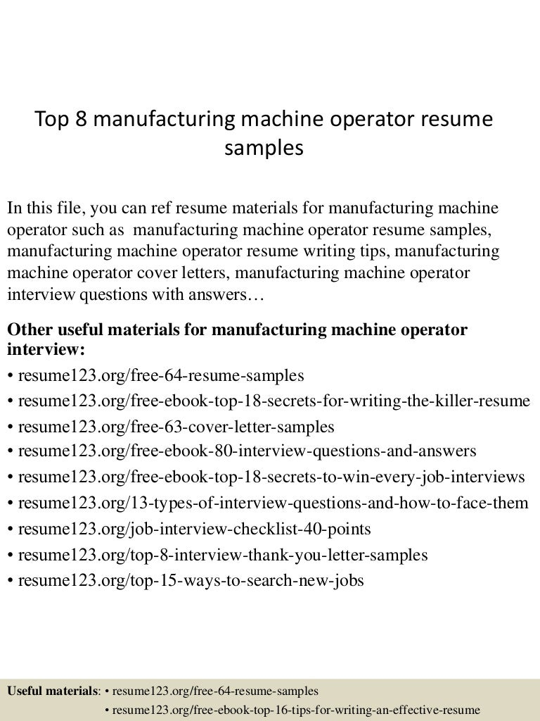 Machine operator manufacturing resume – Machine Operator Resume Sample