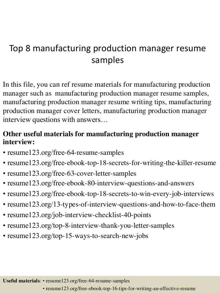 Technical Controller Cover Letter Resume Templates Management  Top8manufacturingproductionmanagerresumesamples 150514020345 Lva1 App6892  Thumbnail 4