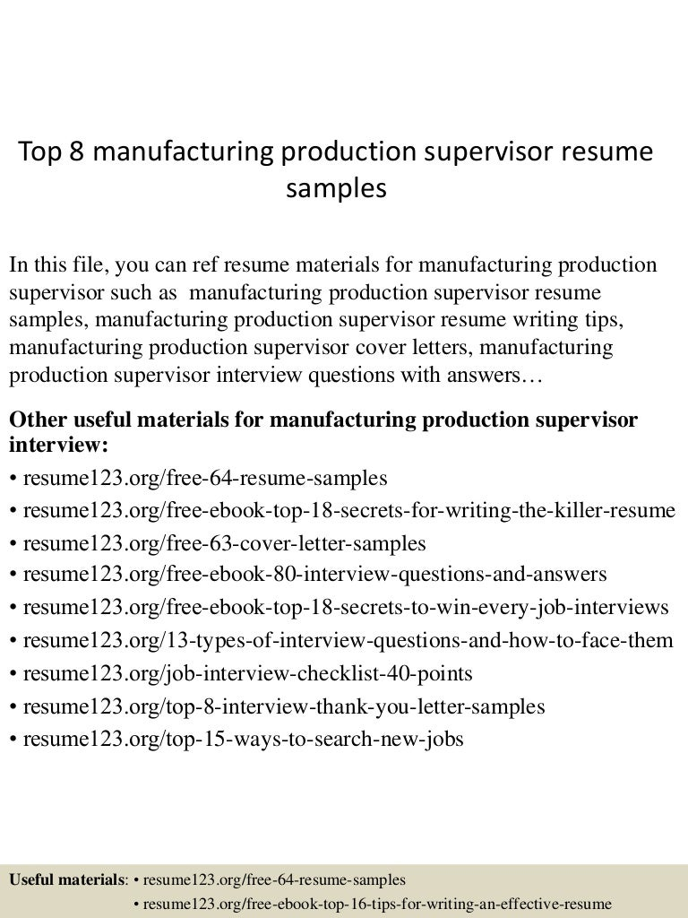 shift supervisor resume sample manufacturing manager free resume
