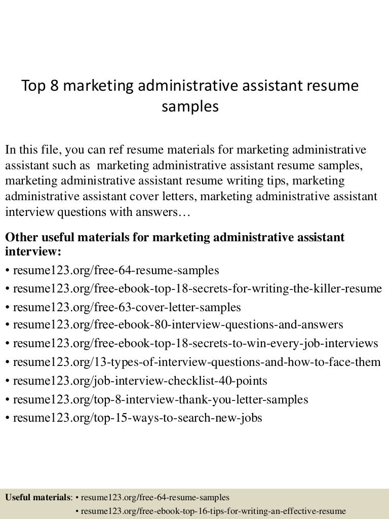 Top 8 Marketing Administrative Assistant Resume Samples