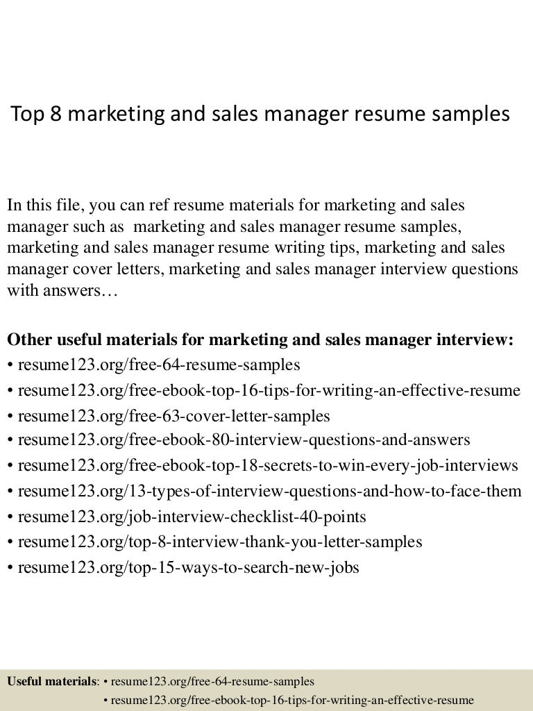 sample marketing and sales director resume