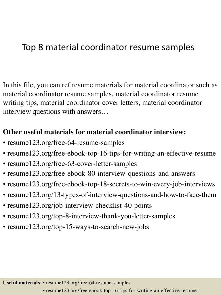 Top 8 material coordinator resume samples