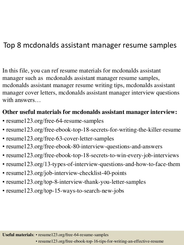 top8mcdonaldsassistantmanagerresumesamples 150517042903 lva1 app6891 thumbnail 4 jpg cb 1431836992