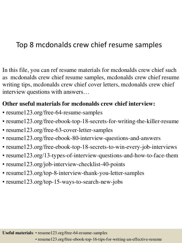 Top 8 mcdonalds crew chief resume samples