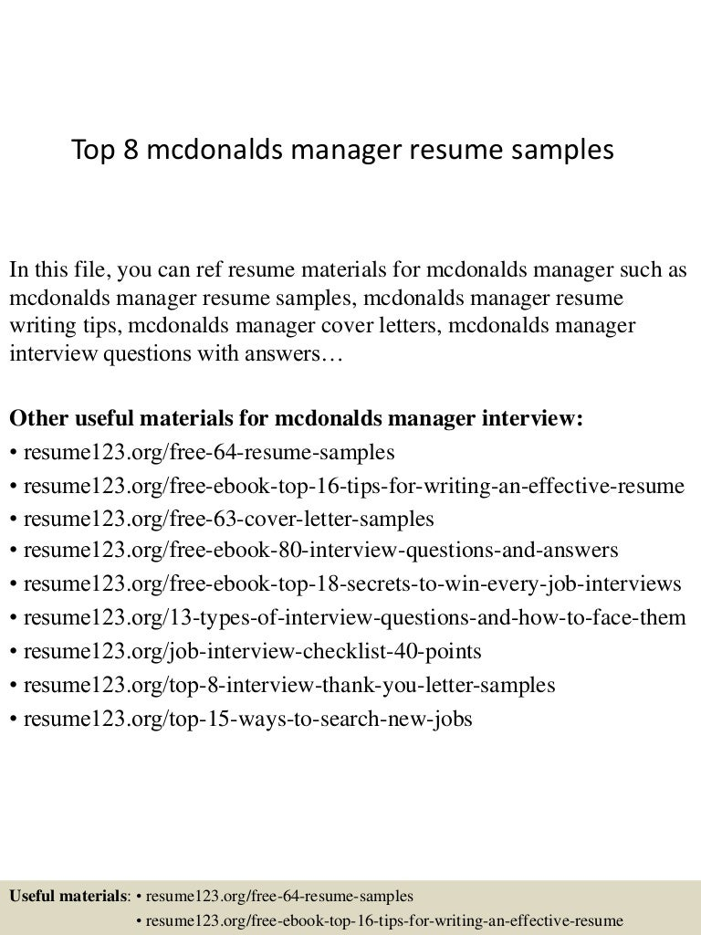 top8mcdonaldsmanagerresumesamples 150410092813 conversion gate01 thumbnail 4 jpg cb 1428676142