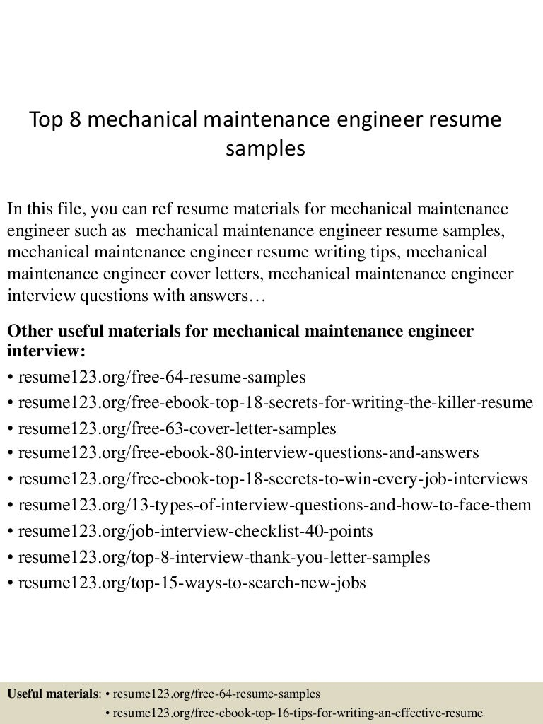 top8mechanicalmaintenanceengineerresumesamples150520132425lva1app6892thumbnail4jpgcb1432128309