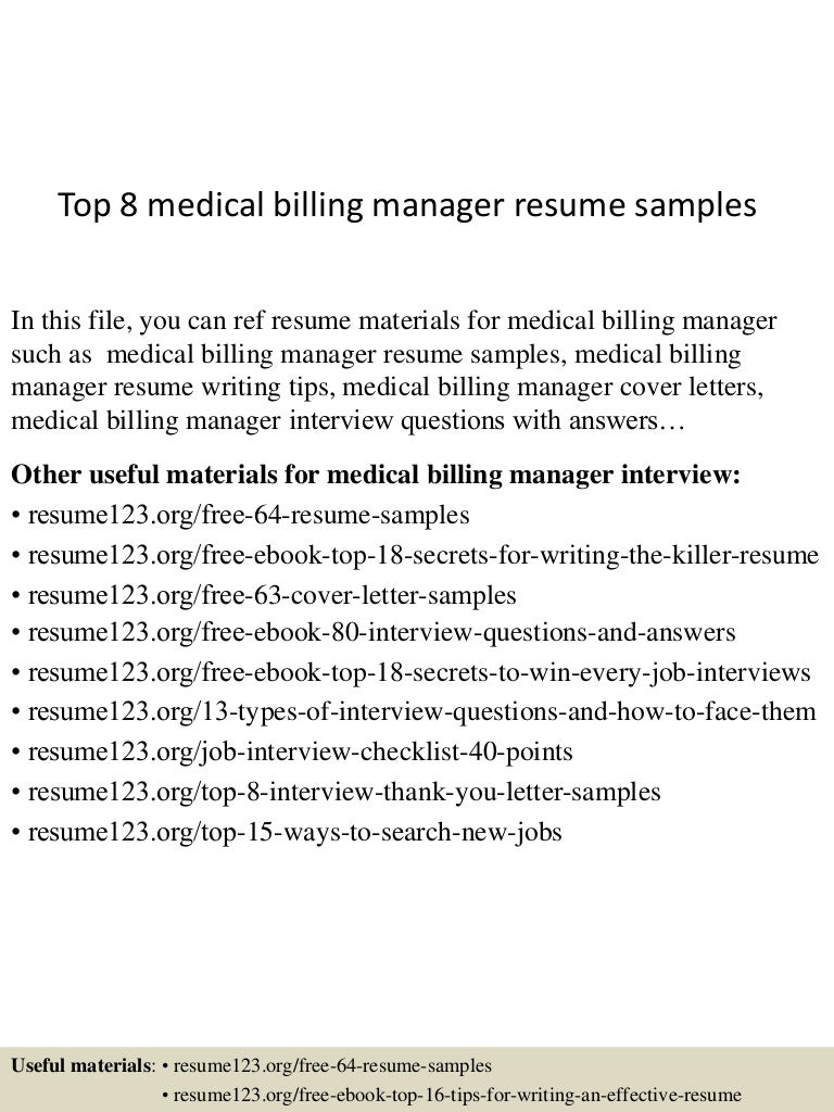 Sample Top8medicalbillingmanagerresumesamples 150516092817 Lva1 App6891  Thumbnail 4 Kennel Attendant Sample Resumehtml Kennel Technician Cover  Letter