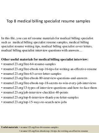 billing specialist resumes