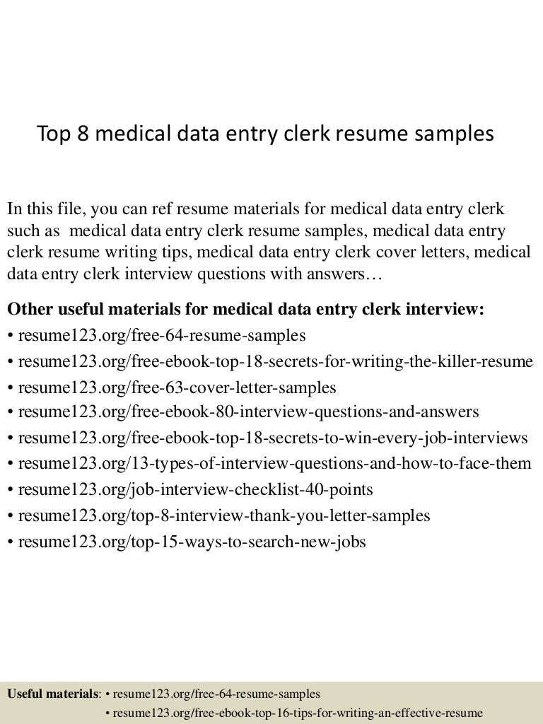 top 8 medical data entry clerk resume samples