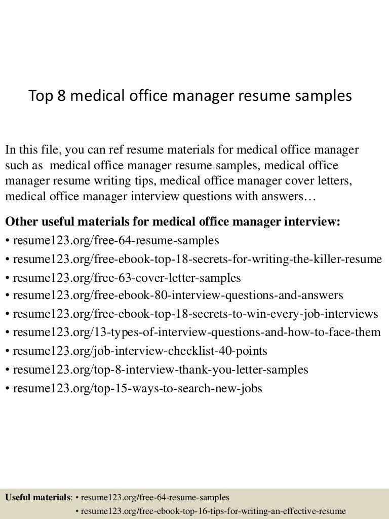 SlideShare  Medical Office Manager Resume Sample