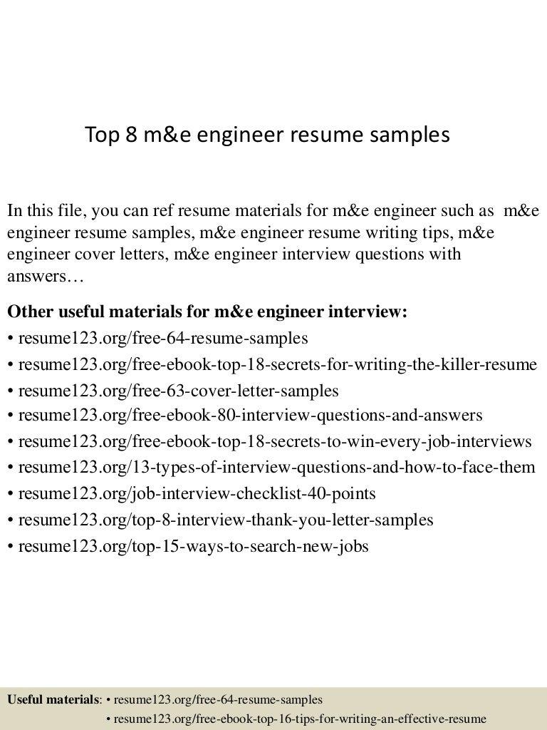 top 8 me engineer resume samples