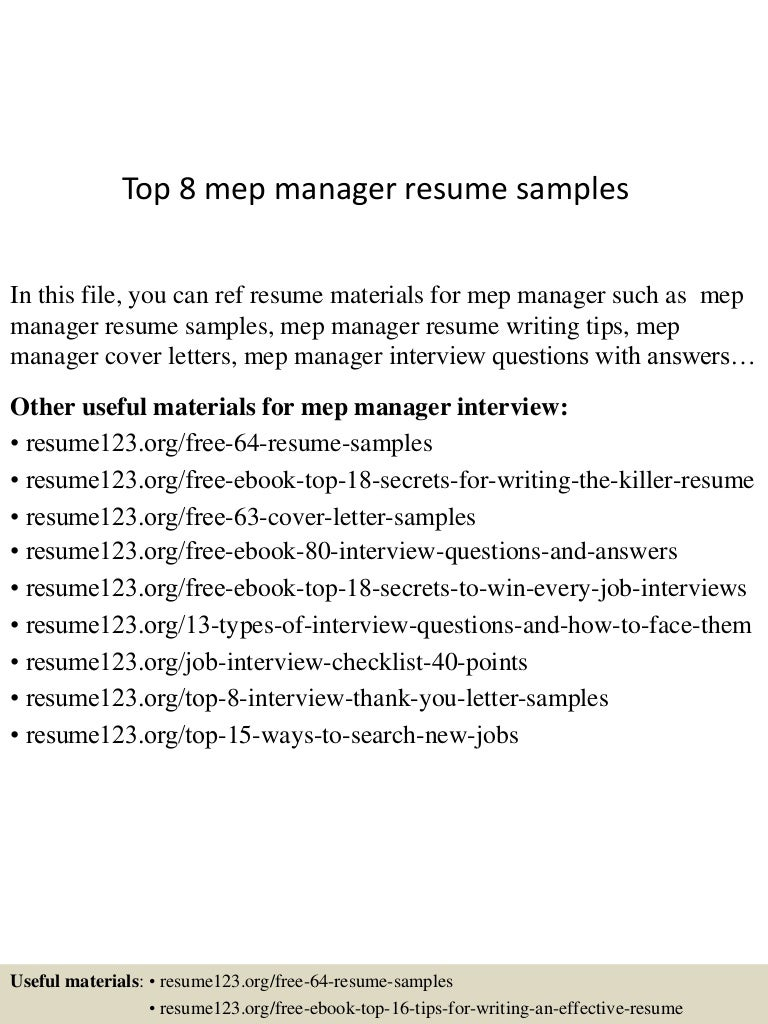 top 8 mep manager resume samples