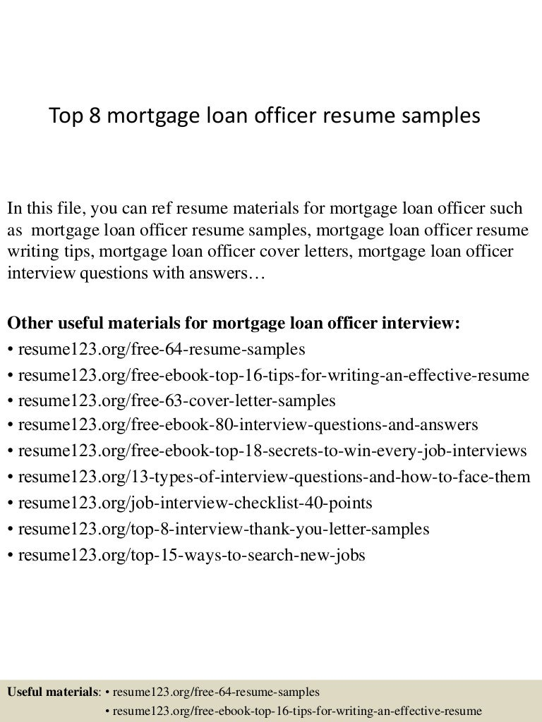 Resume Mortgage Loan Officer Resume top8mortgageloanofficerresumesamples 150408083421 conversion gate01 thumbnail 4 jpgcb1428500107