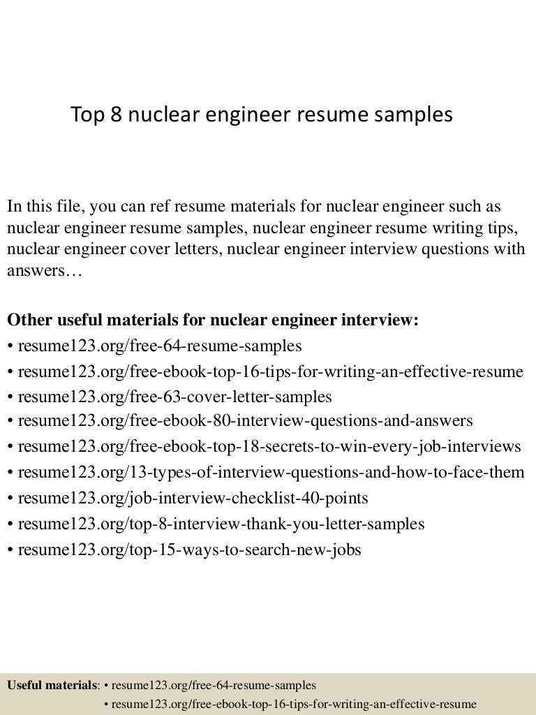 Top 8 nuclear engineer resume samples
