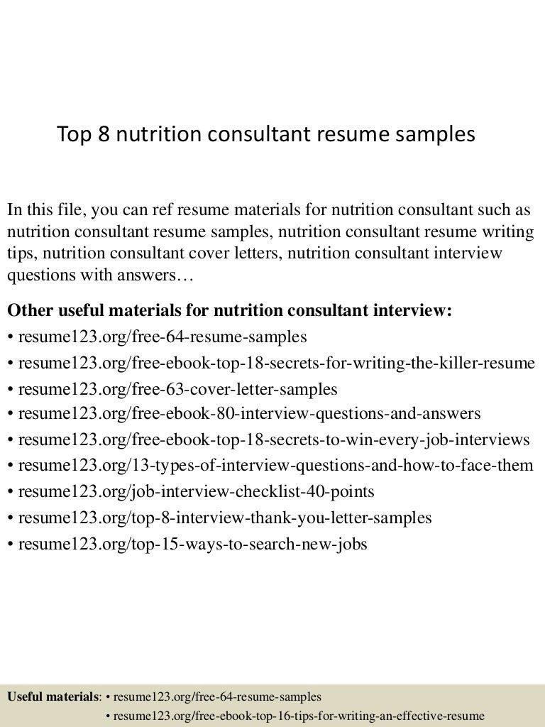 Top8nutritionconsultantresumesamples 150513134656 Lva1 App6892 Thumbnail 4cb1431524861