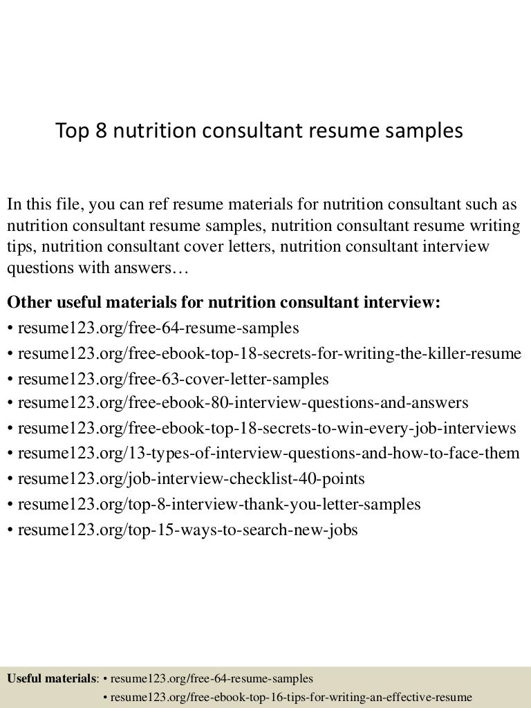 Top8nutritionconsultantresumesamples 150513134656 Lva1 App6892 Thumbnail 4?cbu003d1431524861