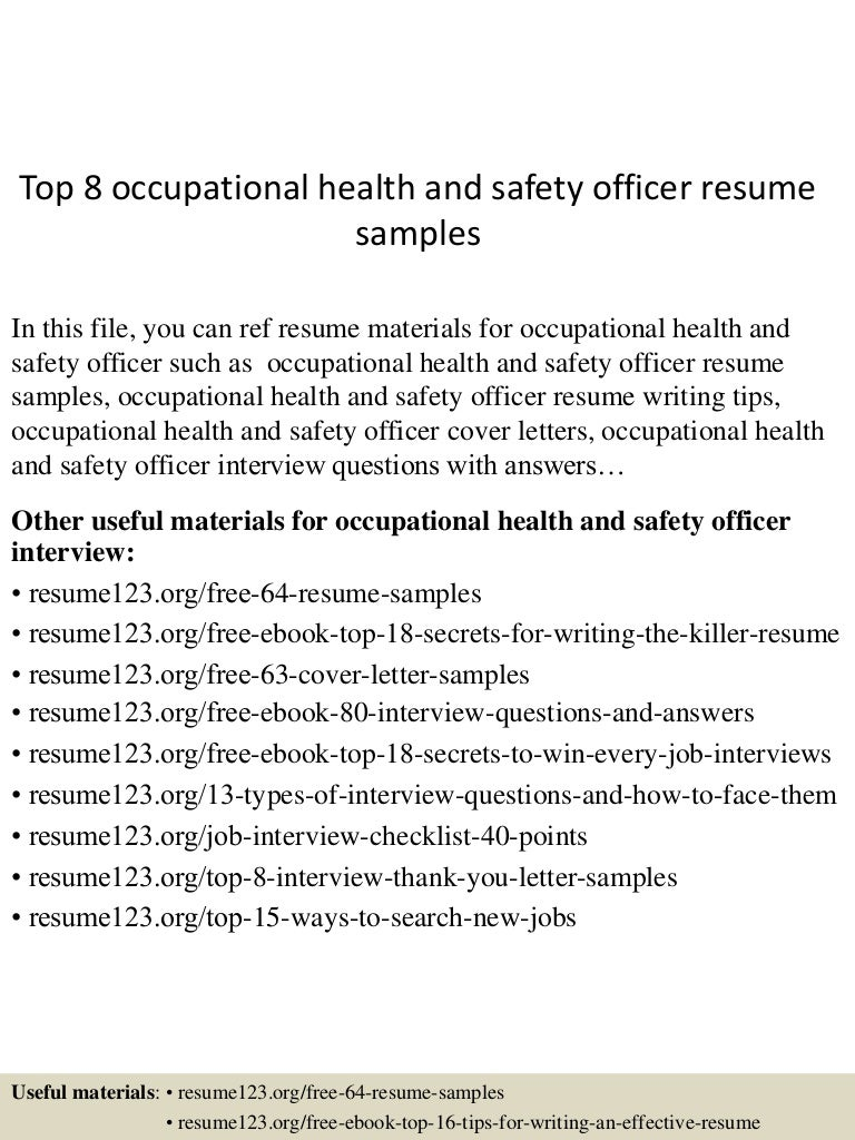 top8occupationalhealthandsafetyofficerresumesamples 150516101459 lva1 app6891 thumbnail 4 jpg cb 1431771346